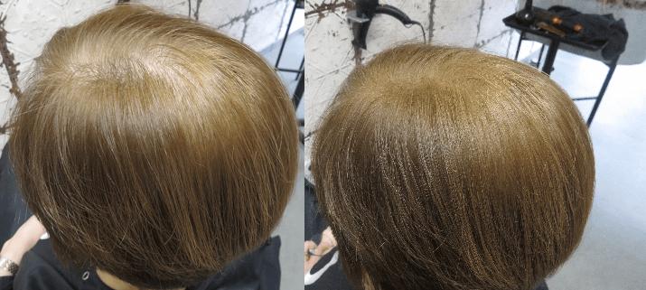 boev haarvezels voor en na voller haar